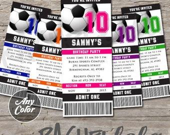 Soccer ticket, Birthday Invitation, Printable, DIY, Any Color