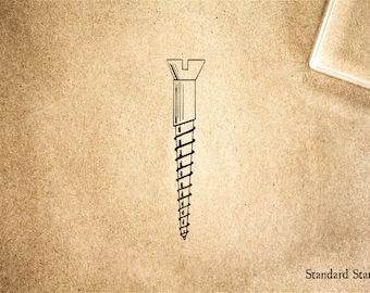 Wood Screw Rubber Stamp - 1 x 2 inches