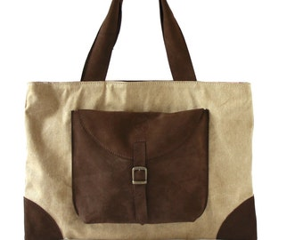 TOTE BAG in BEIGE waxed canvas, dark brown nabuk leather/New collection/bags and purses/handmade bags/woman bags/handbags/waxed canvas bag