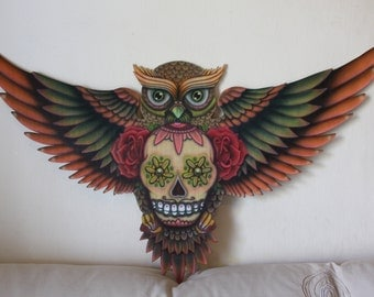 Wood Painting, Owl Roses Sugar Skull Day of the Dead dia de los muertos Airbrush