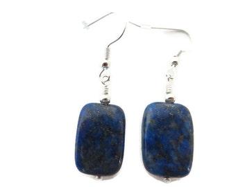 Royal Blue Lapis Earrings, Lapis Lazuli Dangle, Navy Blue Earring, Dark Blue Earring, Blue Stone Earring, Blue Dangle, Navy Stone Earring