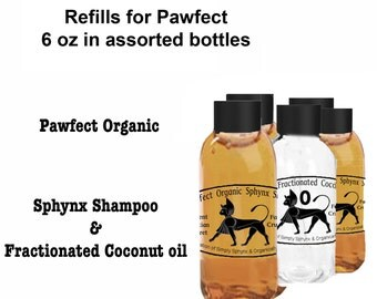 Organic Pet Shampoo, Sphynx Cat Shampoo, Refill Set Pawfect Sphynx Shampoo for Hairless Pets with Fractionated Coconut Oil.