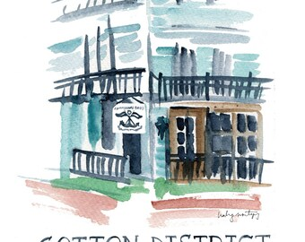 Cotton District, Starkville Mississippi - Commodore Bob's - Watercolor Print - Hand Lettering