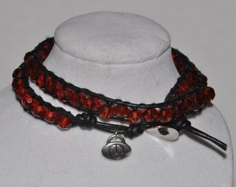 SALE! Wrap Bracelet Red Crystal Charm Double #526