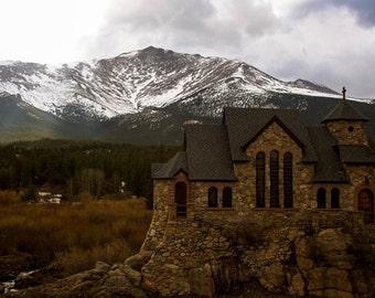 The Chapel on the Rock. Allens Park, CO. Landscape photography. Canvas print photo.