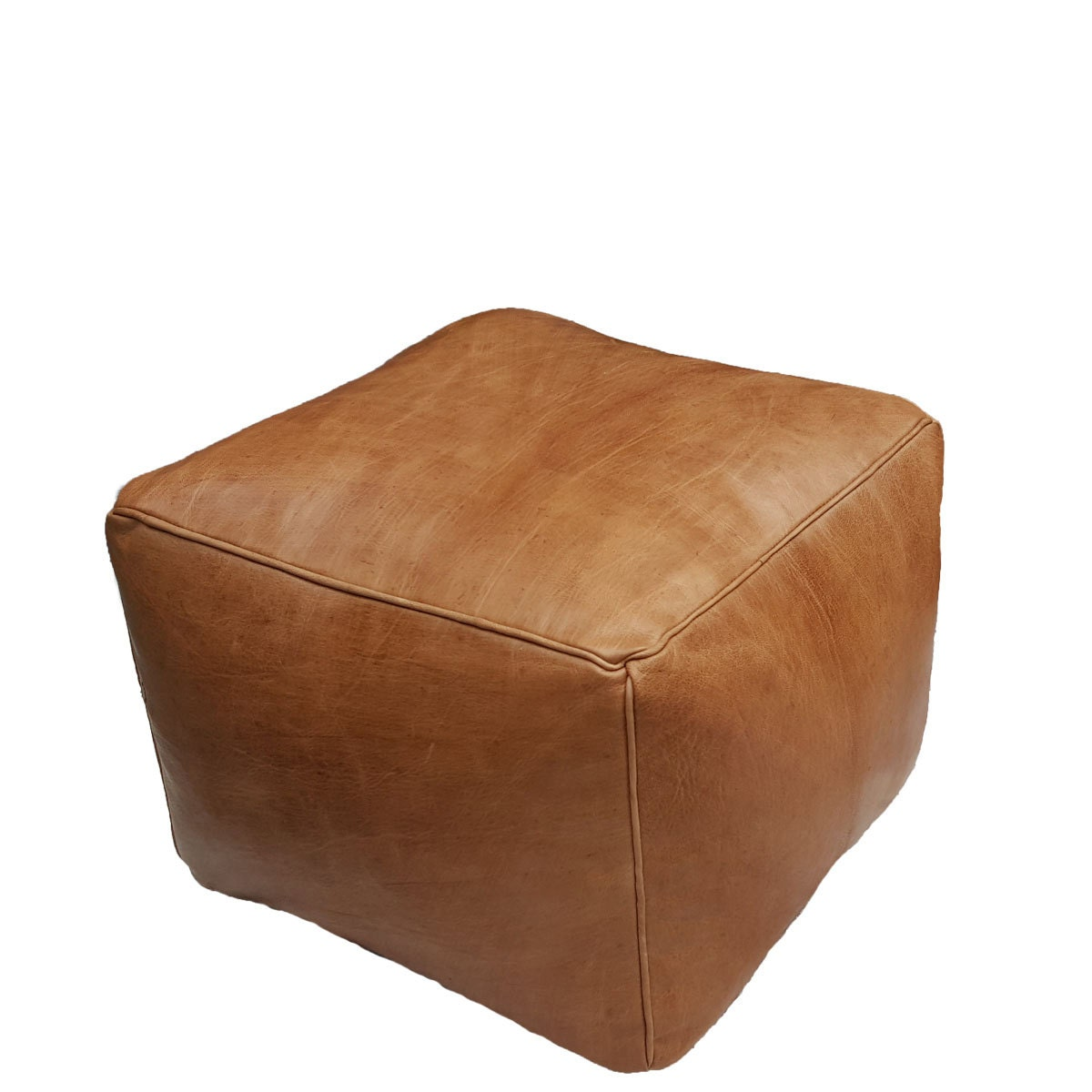 Leather Pouf Ottoman natural leather brown Cube small.