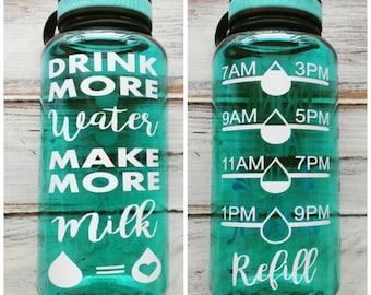 Breastfeeding water bottle - 34 OZ. Jug, Water tracker, New mom gift, baby shower gift, breastfeeding, normalize breastfeeding