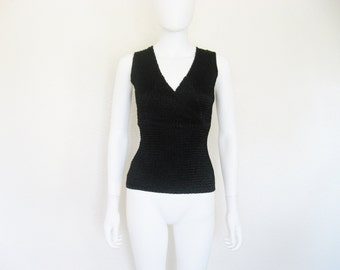 Minimalist Texture issey miyake style Black Criss Cross Sleeveless Top