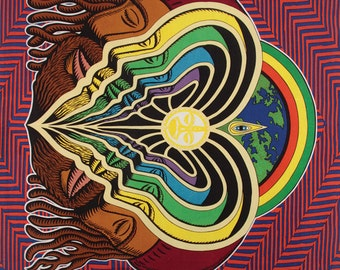 """Psychedelic """"Peeling Bodies"""" Tapestry 60 X 90 universal consciousness"""
