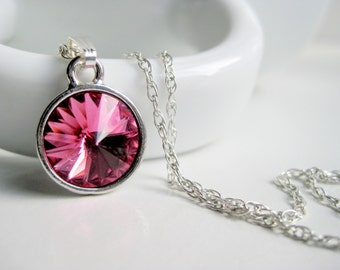 Hot pink necklace, magenta pendant, Swarovski crystal necklace, sterling chain, round necklace, handmade jewelry