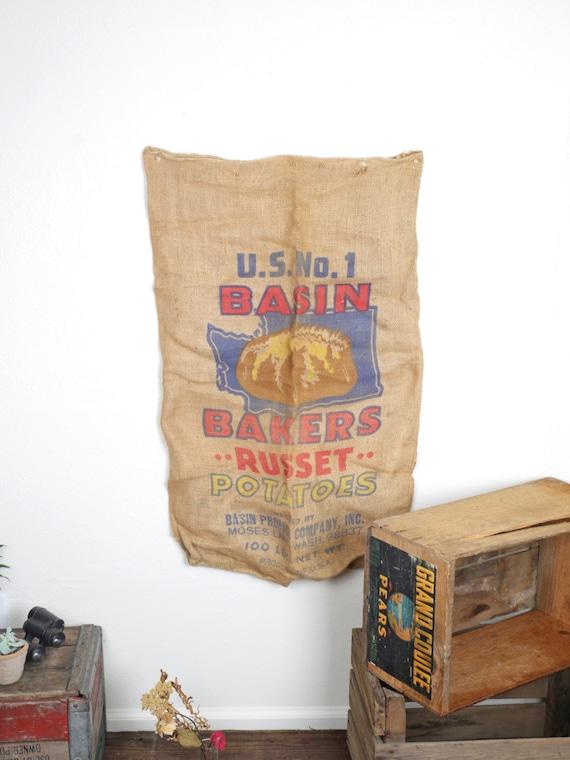Vintage potato sack feed sack burlap sack rustic home decor for Burlap sack decor
