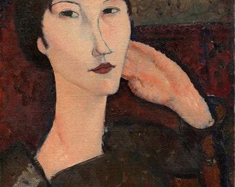 "Amedeo Modigliani : ""Adrienne (Woman with Bangs)"" (1917) - Giclee Fine Art Print"