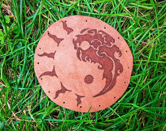 Leather Patch, Yin Yang Patch, Water Sun symbol, Hippie Patch, Pins & Patches, Hippie Symbol Patch, Handmade Leather Patch
