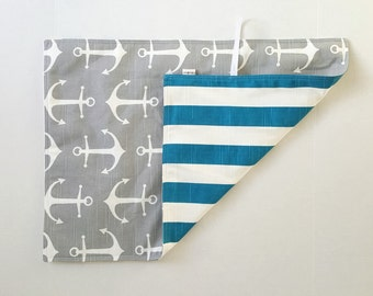Baby changing mat padded, nautical changing pad, travel changing pad, turquoise and white striped with grey anchors on reverse