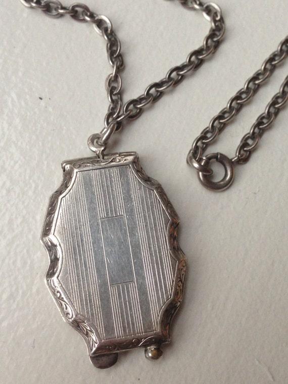 Antique art deco shield crest shape sterling chatelaine locket no