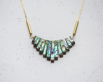 Abalone Statement Necklace With Brass Details