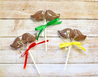 6 Milk Chocolate Mustache Lollipops Party Favors