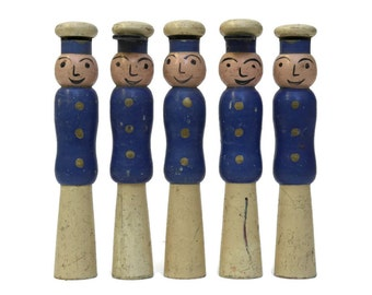 Toy Policeman Bowling Pins. Antique French Skittles. French Gendarmes.
