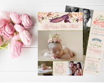 Floral Baby Announcements - Boho Watercolor Baby Girl Birth Announcement Cards - Printable or Printed