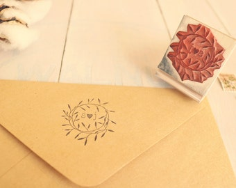 Rustic Wedding Favor Stamp - Laurel Stamp - Personalized Initials Wreath Rubber Stamp - Wedding Envelope Stamp