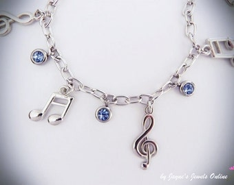 Music Note Charm Bracelet, Quaver, Semiquaver, Light Blue crystal drops, music bracelet for girls who LOVE music
