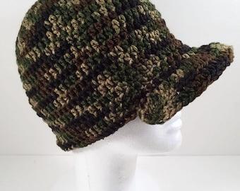 Crocheted Camo Newsboy Hat - Adult Size