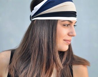 Viscose Headband, Beige, Blue Handmade Headbands, Hippie Headband, Fashion Headbands, Womens Head Wraps, Vintage Headbands, Hair Accessories