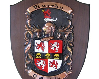 Copper On American Walnut Family Crest