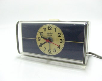 Vintage Blessing Electric Alarm Clock / Dark Blue & White / Made in West Germany