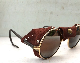 Reserved for *ALINA* Vintage Round Gold Frame Sunglasses w/ Brown Suede Side Blinders RARE France; Steampunk