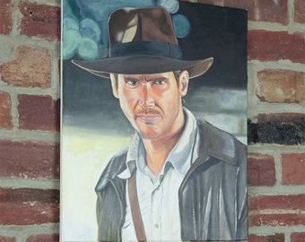 """Indiana Jones painting - Indy Raiders of the Lost Ark -  Acrylics on Canvas 16"""" x 20"""""""