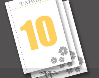 Wedding Table Numbers, Yellow and Grey, Modern Table Number Cards - Numbers 1 to 10