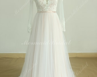 Deep V Neckline A Line Tulle Lace Wedding Dress with Blush Lining and Long Sleeves