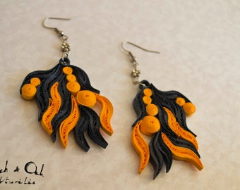 Orange and dark blue paper quilled eco-friendly dangle earrings