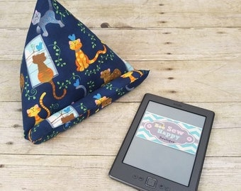 iPad Holder ~ Gift for Cat Lover ~ Cute Cat Tablet Stand ~ Cat Mom Gift ~ iPad Mini Teens Gift ~ Cat Desk Accessories ~ Kindle Holder Pillow