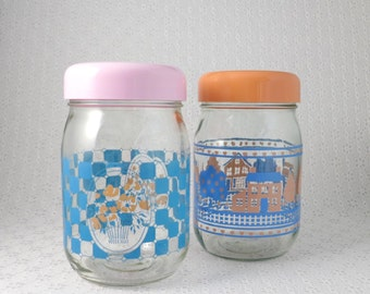 Large Glass Jars, Set of 2, Salmon Pink, Turquoise Blue, Glass Canisters, Vintage Kitchen, Farmhouse Decor