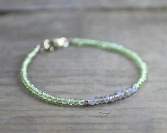 Delicate Labradorite & Peridot Bracelet in Sterling Silver or Gold Filled, August Birthstone Jewelry, Grey Green Gemstone Crystal Bracelet