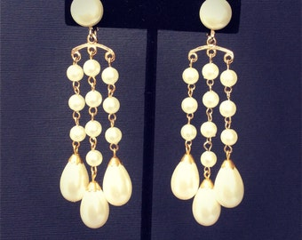 Vintage Pearl Chandelier Clip On Earrings