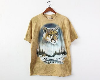 LARGE Vintage 1990s Cougar Tie-Dye The Mountain Graphic T-Shirt