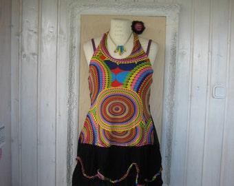 Plus Size Boho Funky Tunic Dress Upcycled Multicolor