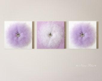 Wall Flower Set of THREE Purple Decor Lilac Lavender Flower Decor 12X12 Canvas Tutu Flower 3D Flower Wall Art Purple Nursery - Nursery Decor