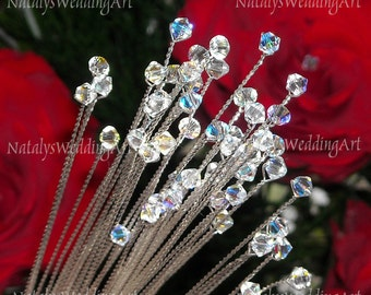 50 Swarovski stems 10'' Wedding Bridal Bouquet Jewelry Bouquet steams Corsage Florist sprays Handmade with CRYSTALLIZED™ Swarovski Elements