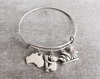 Silver Bracelet, Sydney Opera House, Australia, Australia Bracelet, Travel Jewelry, Australian Gift, Map of Australia, Charm Bracelet, Gift