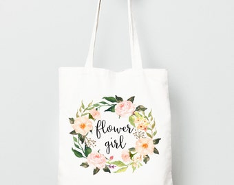 Flower Girl Gift, Personalized Canvas Tote Bag, Watercolor Flower Wreath