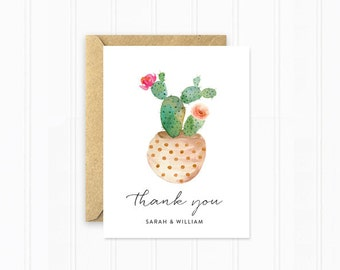 Wedding Thank You Cards, Personalized Card Set with Potted Cactus