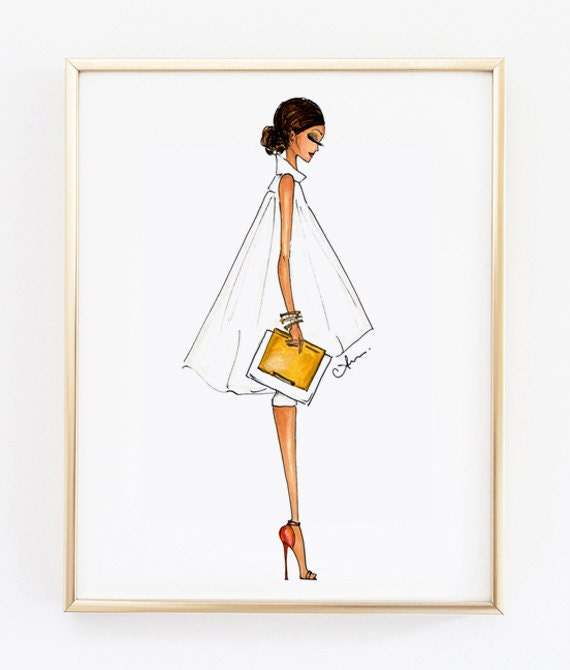 fashion illustration print alice olivia 8x10 by anumt on etsy
