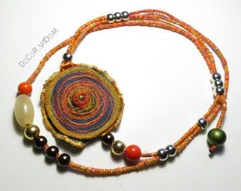 embroidered jeans, necklace, Orange, Orange pearl necklace vintage fabric necklace, recycled, upcycled jewelry necklace, pumps, c14