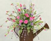 Spring Wreath, Summer Wreath, Spring Décor, Watering Can Wreath, Spring Arrangement, Watering Can, Pink, Purple, Summer Door Decor