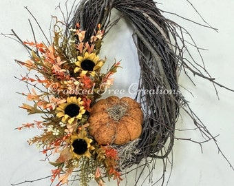 Fall Wreath, Pumpkin Wreath, Sunflower Wreath, Prim Wreath, Autumn Wreath, Harvest Wreath, Rustic Wreath, Sunflowers, Fall Floral, Pumpkin