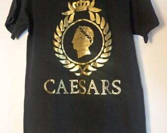 Vintage 80s Caesars Palace T Shirt Tee, Rare Gold Foil Logo Print Souvenir Exclusive Retro Fashion Aesthetic